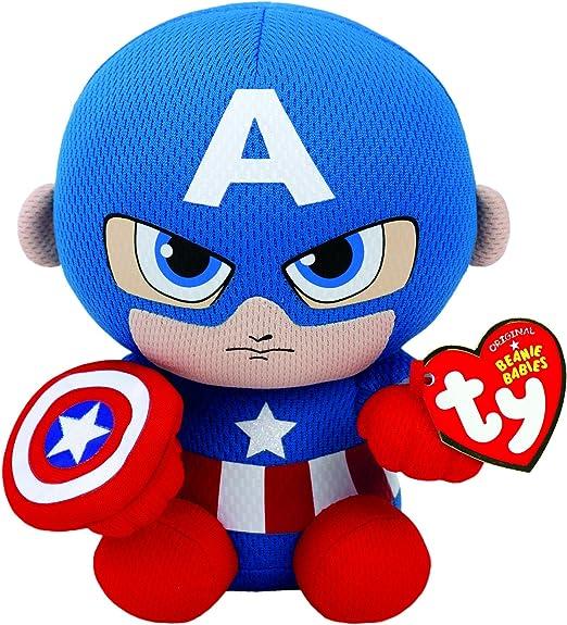 Ty Captain America Plush, Blue/Red/White, Regular