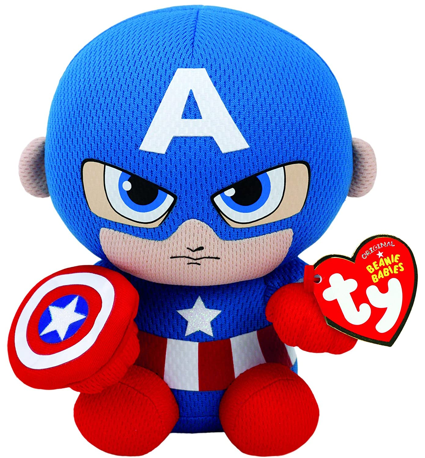 Ty Captain America Plush, Blue/Red/White, Regular