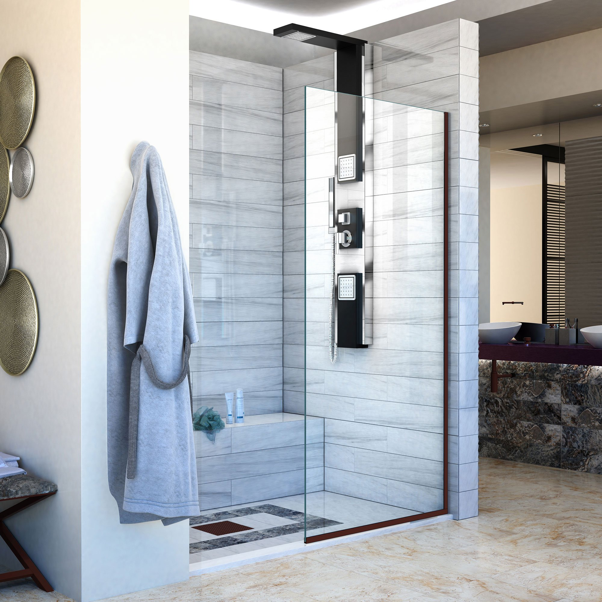 DreamLine Linea 30 in. Width, Frameless Shower Door, 3/8'' Glass, Oil Rubbed Bronze Finish by DreamLine