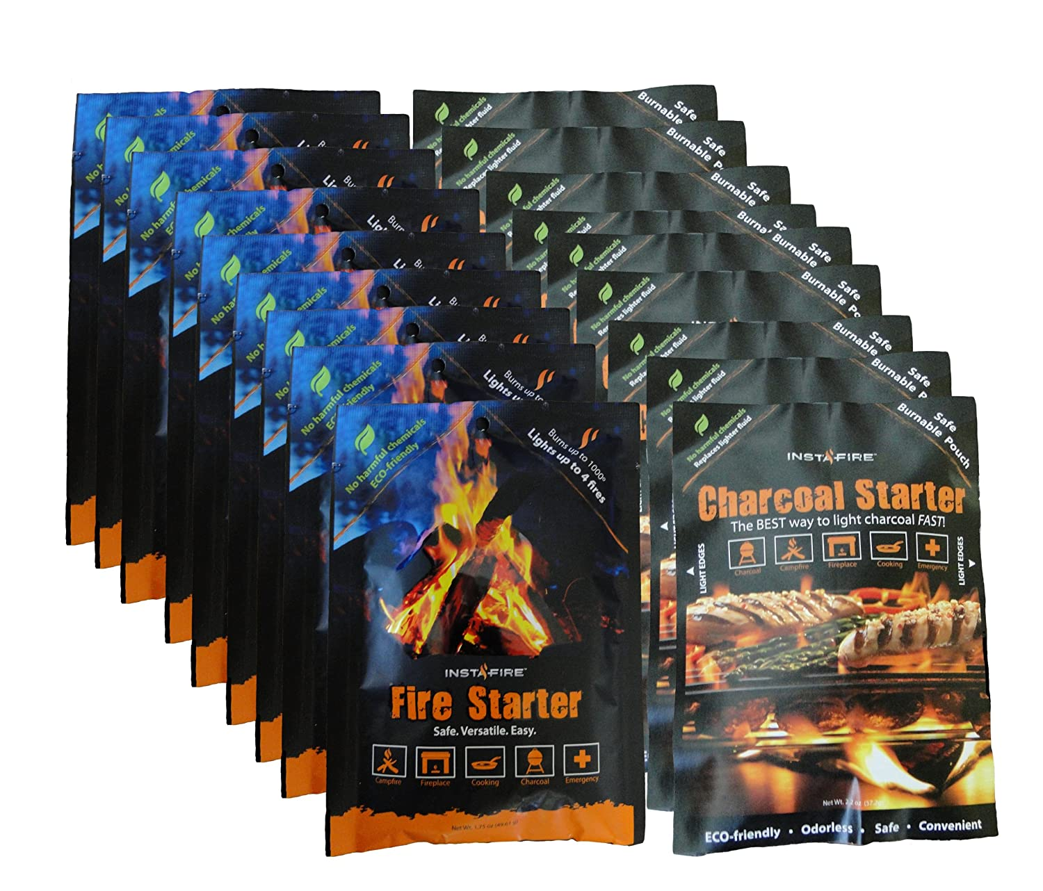 InstaFire Fire Starter (Mylar Packs) / Charcoal Briquette Starter (Burnable Packs) Set, 9 Packs of Each 791090535724 IF-C104GB1CSCB