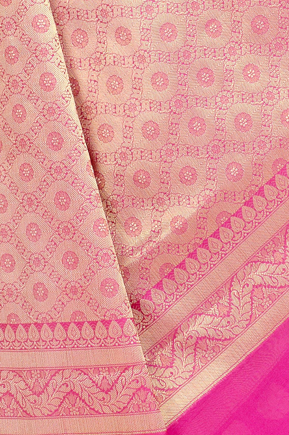 Chandrakala Women's Cotton Banarasi Saree Free Size Pink by Chandrakala (Image #3)