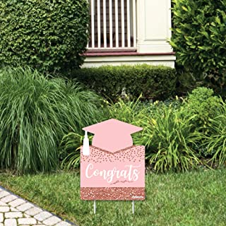 product image for Big Dot of Happiness Rose Gold Grad - Outdoor Lawn Sign - Graduation Party Yard Sign - 1 Piece