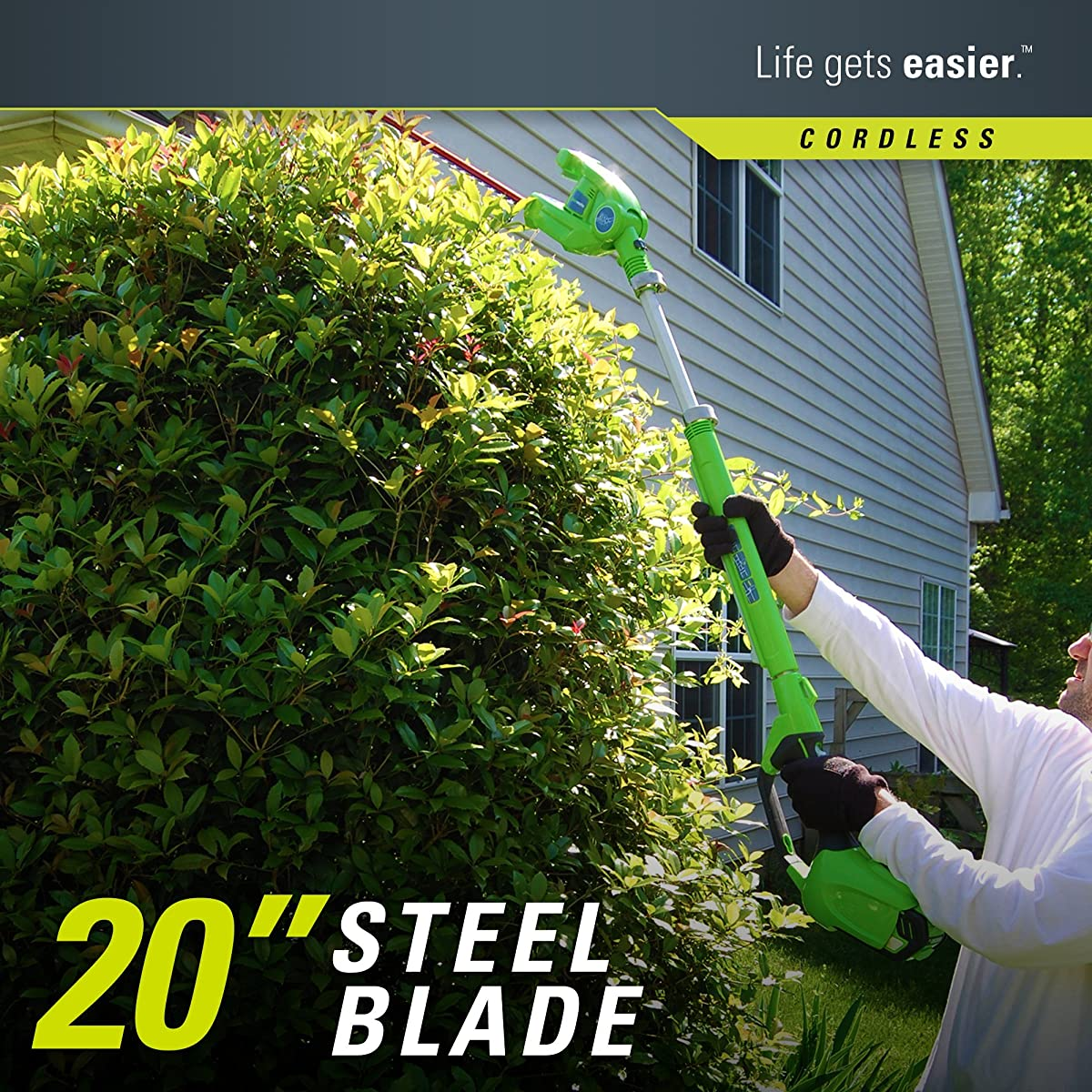 GreenWorks 2272 7.25 40V Cordless, 2.0 AH Battery Included 22272 Pole Hedge Trimmer, Electric Lime