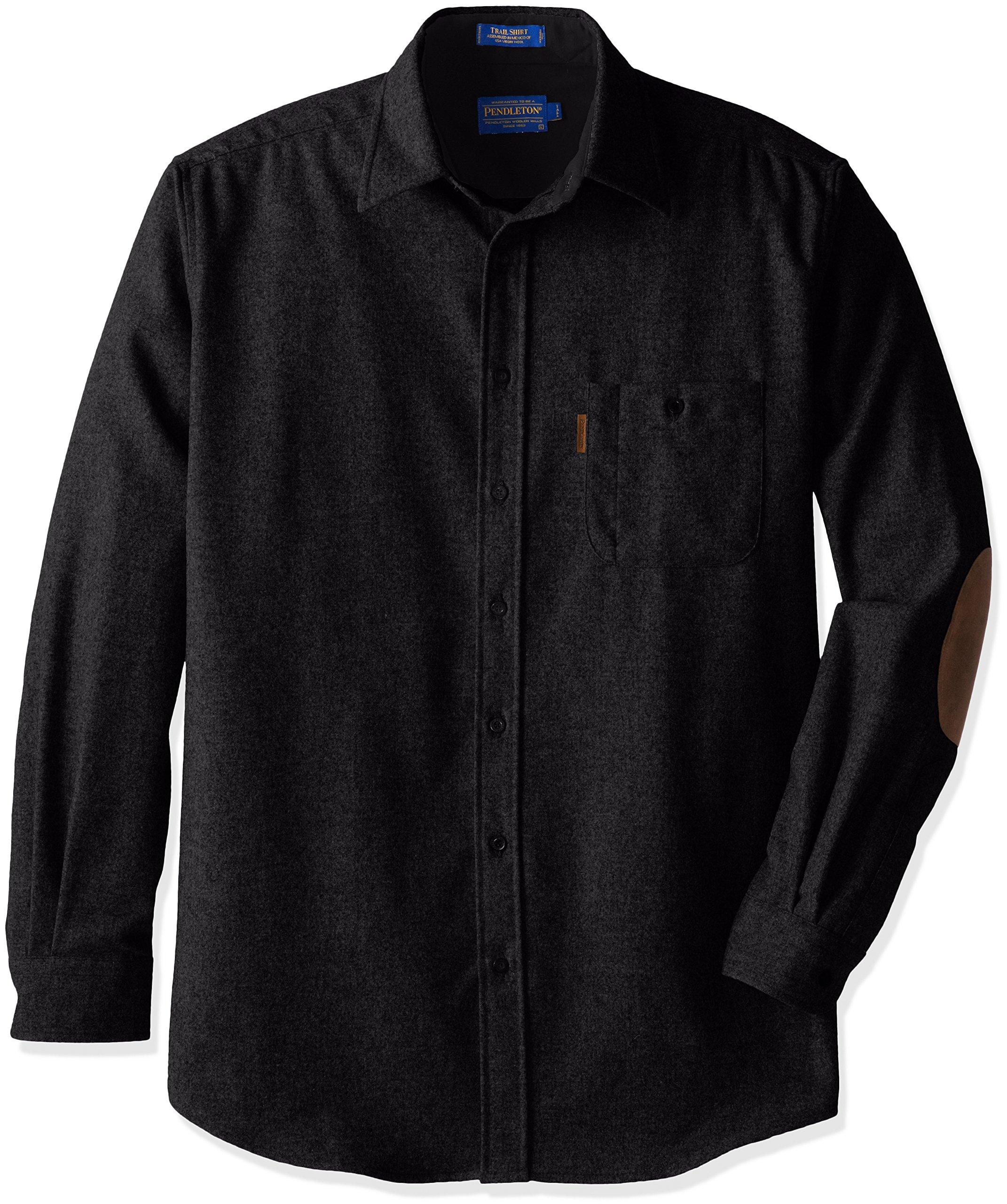 Pendleton Men's Big & Tall Long Sleeve Trail Shirt, Black, XX-Large/Tall