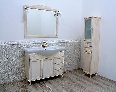 Le chic mobile bagno con lavabo in ceramica avorio decape decapato