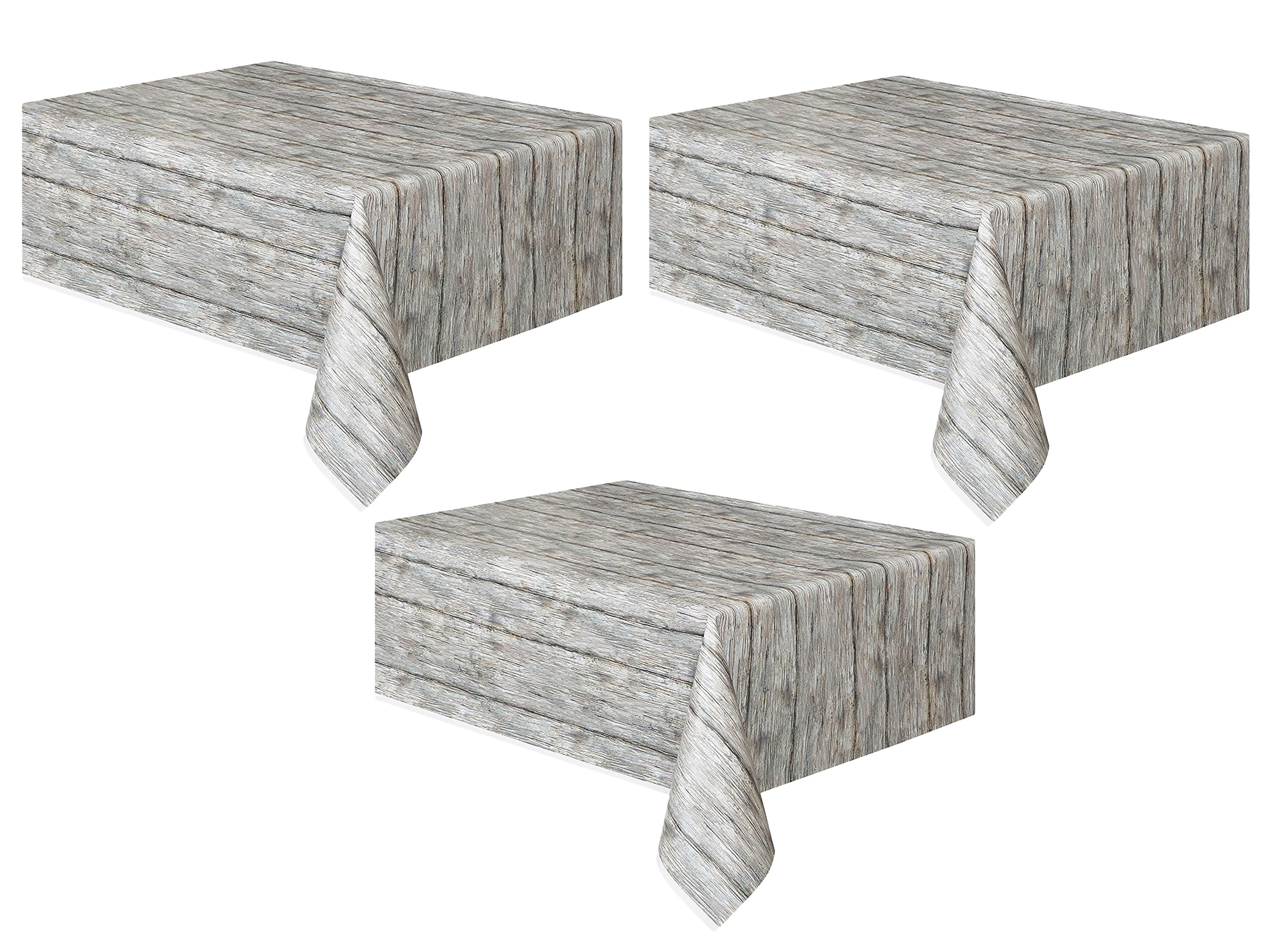 Set of 3 Unique Industries Rustic Wood Plastic Tablecloth, 108'' x 54'' bundled by Maven Gifts