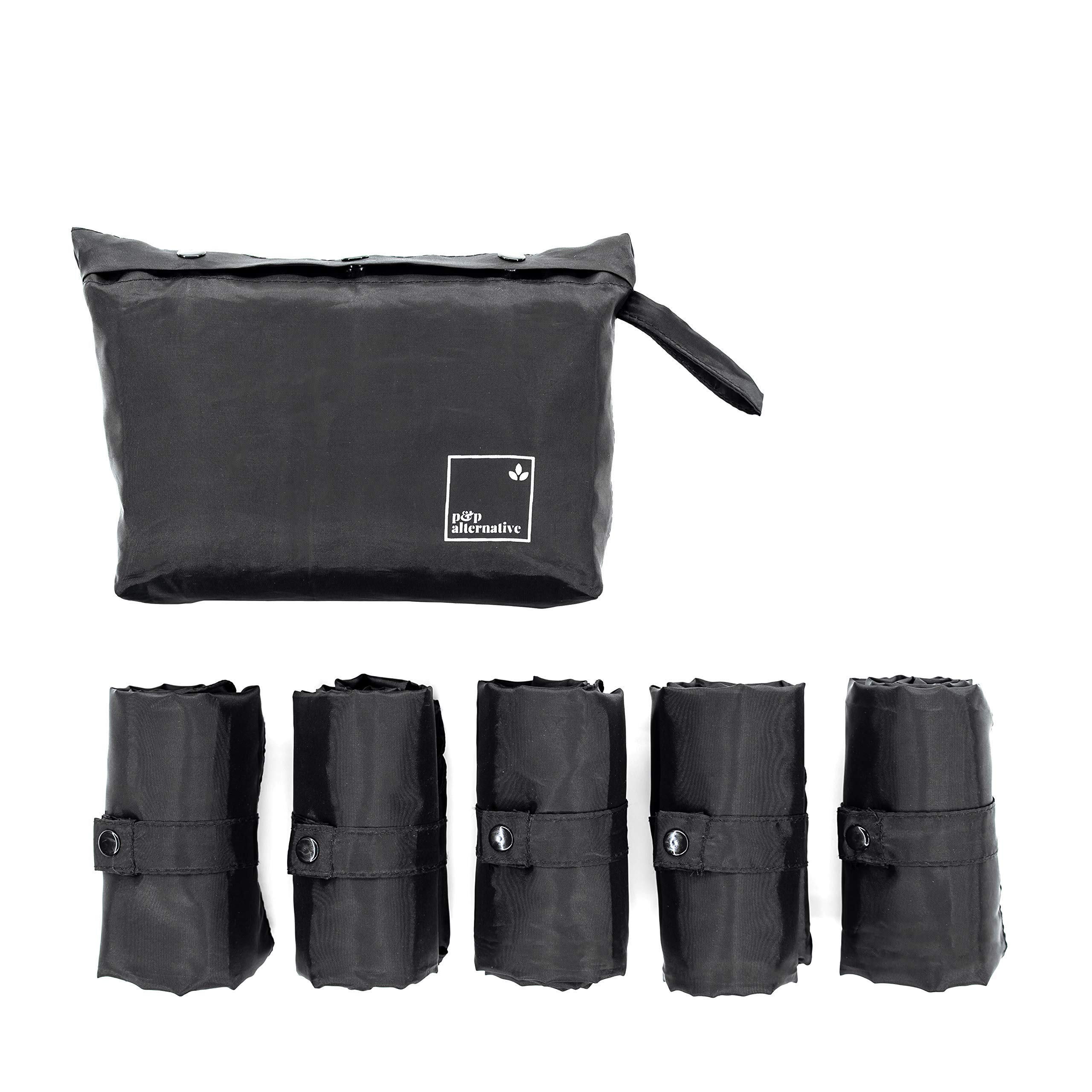 Reusable Grocery Bags Set of 5 with a Pouch, Foldable, Heavy Duty, Eco-Friendly, Unisex, Ultralight Everyday Tote Bag for Groceries, Books, Traveling, Beach, Gym, Laundry, Lunch in JET BLACK