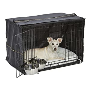 MidWest iCrate Starter Kit   The Perfect Kit for Your New Dog Includes a Dog Crate, Dog Crate Cover, 2 Dog Bowls & Pet Bed   1-Year Warranty on ALL Items