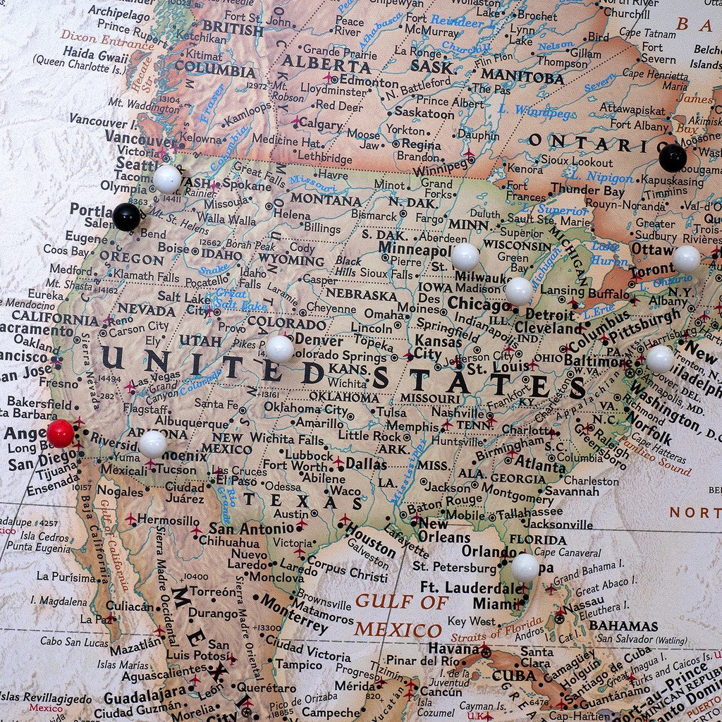 Amazon Executive World Push Pin Travel Map with Black Frame – World Traveler Maps