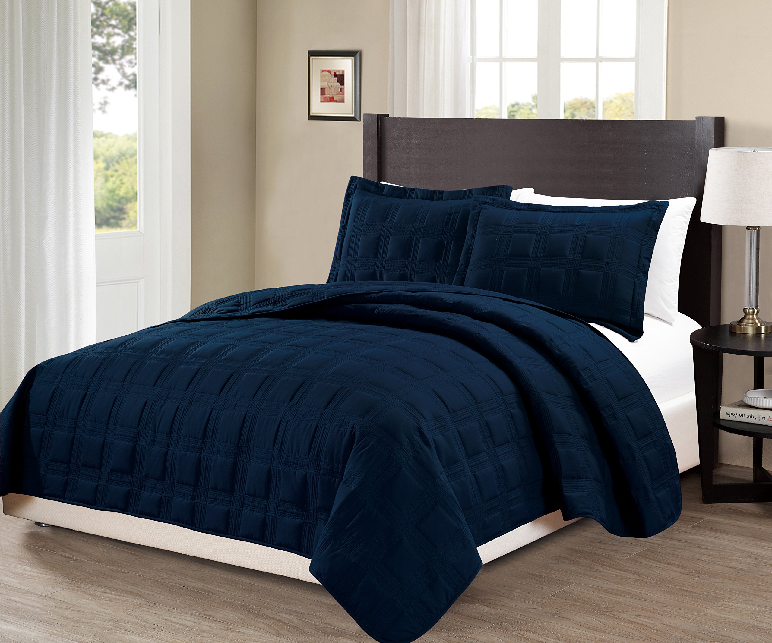 Mk Collection 3 Pc Full/Queen Target Over Size 100'' x 106'' Bedspread Bed-cover Quilted Embroidery Modern Geometric Solid Navy Blue New