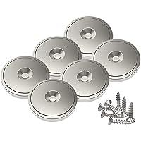 Magnetpro 6 piezas imanes de disco de neodimio 20 kg de fuerza de tracción 28 x 5 mm con copa de acero, orificio…