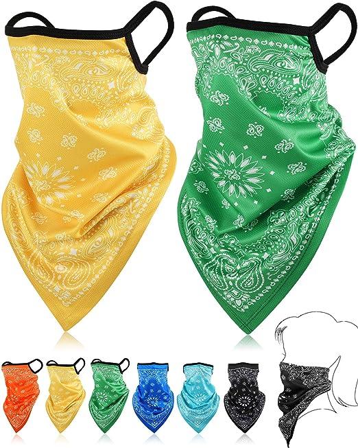 Satinior Bandana Gesichtsschutz Ohrschlaufen Sturmhauben Hals Gamasche Schal Outdoor Kopfbedeckung Für Männer Frauen Gelb Grün Rosenrot Orange Cyan Blau 6 Bekleidung