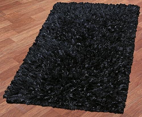 Black Shimmer Shag 21 x34 Rug