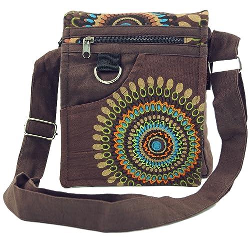 Guru Shop Kleine Schultertasche, Hippie Tasche, Goa Tasche Schwarz, HerrenDamen, Baumwolle, 18x16x4 cm, Alternative Umhängetasche, Handtasche aus