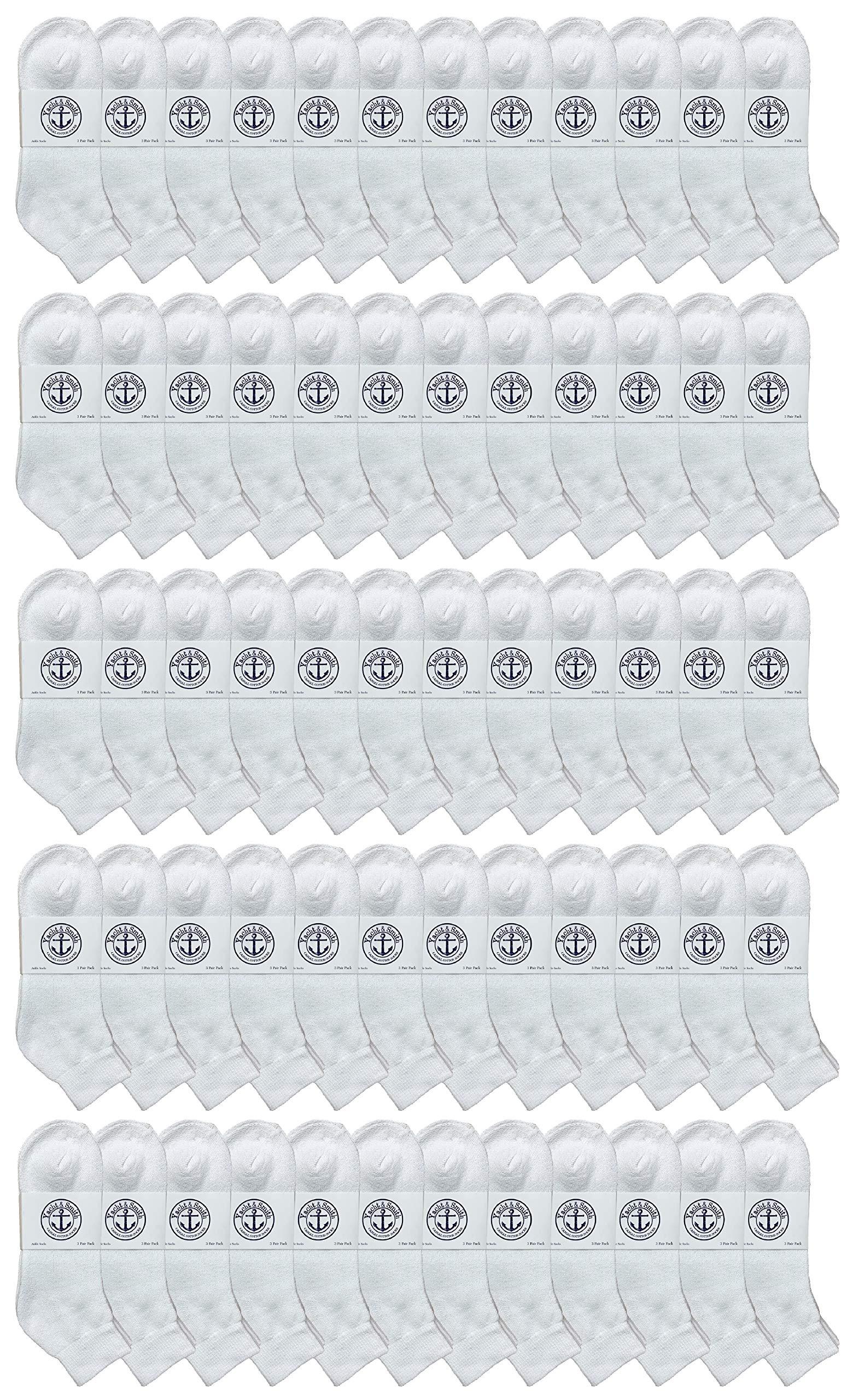 SOCKS'NBULK 60 Pairs Wholesale Bulk Sport Cotton Unisex Crew Socks, Ankle Socks, Value Deal (Kids White Ankle 6-8) by SOCKS'NBULK
