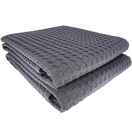 Daloual 2 x ducha toalla toalla cuadrícula 130 x 70 cm Algodón/Tumbona Antracita Gris