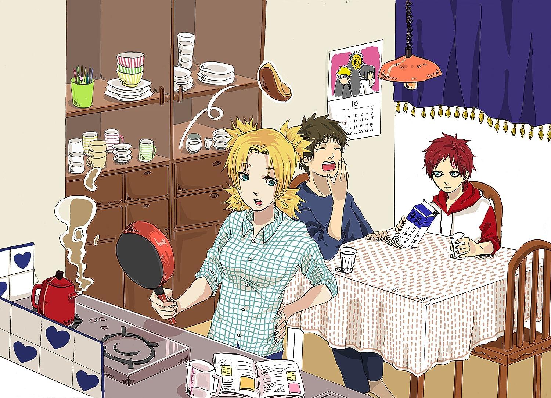 Naruto Wall Decoration,Kitchen Art Poster,Gaara,Kankurō and Temar Art Print,Cooking Artwork,Food Watercolor Print,Anime Wall Art Size 24''x32'' (61x81 cm)
