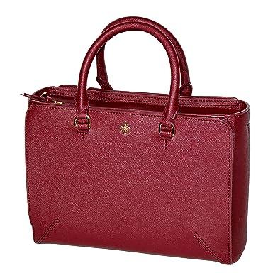 b2754681463 Amazon.com  Tory Burch Women s Emerson Small Zip Tote Leather Shoulder  Handbag 50707 (Imperial Garnet)  Shoes