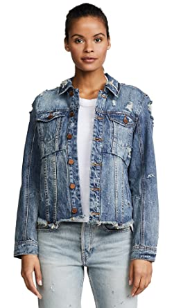 748eba4fe5e [BLANKNYC] Blank Denim Women's Distressed Denim Jacket, Sneak Peak, X-Small