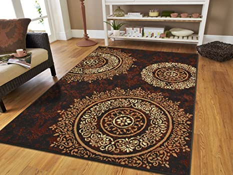 Luxury Century Contemporary Area Rug 5x8 Black Rugs Modern Rugs for Living  Room 5x7 Black Brown Cream Beige Rugs for Bedroom (Medium 5\'x8\' Rug)