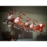 Set of 2 Small Santa Sleigh and Reindeer Full Colour Window Cling Sticker. Christmas Window Decorations by Stickers4 (Small)