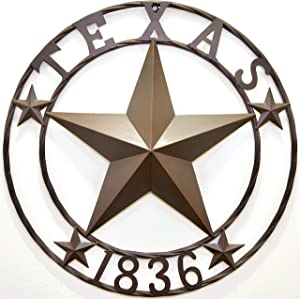 "BestGiftEver Metal 24"" Circle - Texas 1836 Wall Hanging Decoration Plaque"