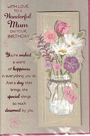 Mum Birthday Card Happy Birthday Mum With Love Traditional