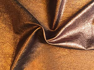 Quality Leather Hide - Copper Color Metallic Finish - Genuine Lambskin Craft Material - 4 sq ft AVG 24¨x 22¨ Longest and widest - Home Decor Projects - Upholstery Fabric Supply - Leather Treasure Sho