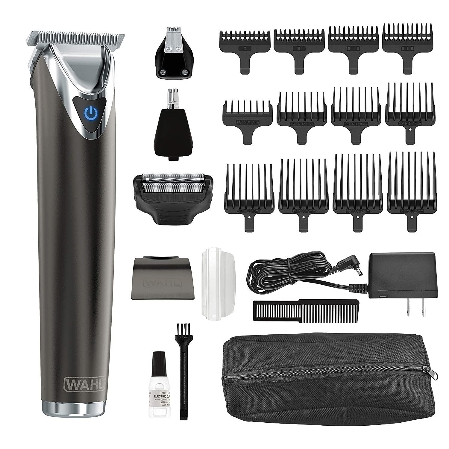 Wahl Clipper Slate Stainless Steel Lithium Ion Plus Beard Trimmers for Men, Electric Shavers, Nose Ear Trimmers, Rechargeable All in One Men's Grooming Kit, by the Brand used by Professionals, 9864 Wahl Clipper Corp