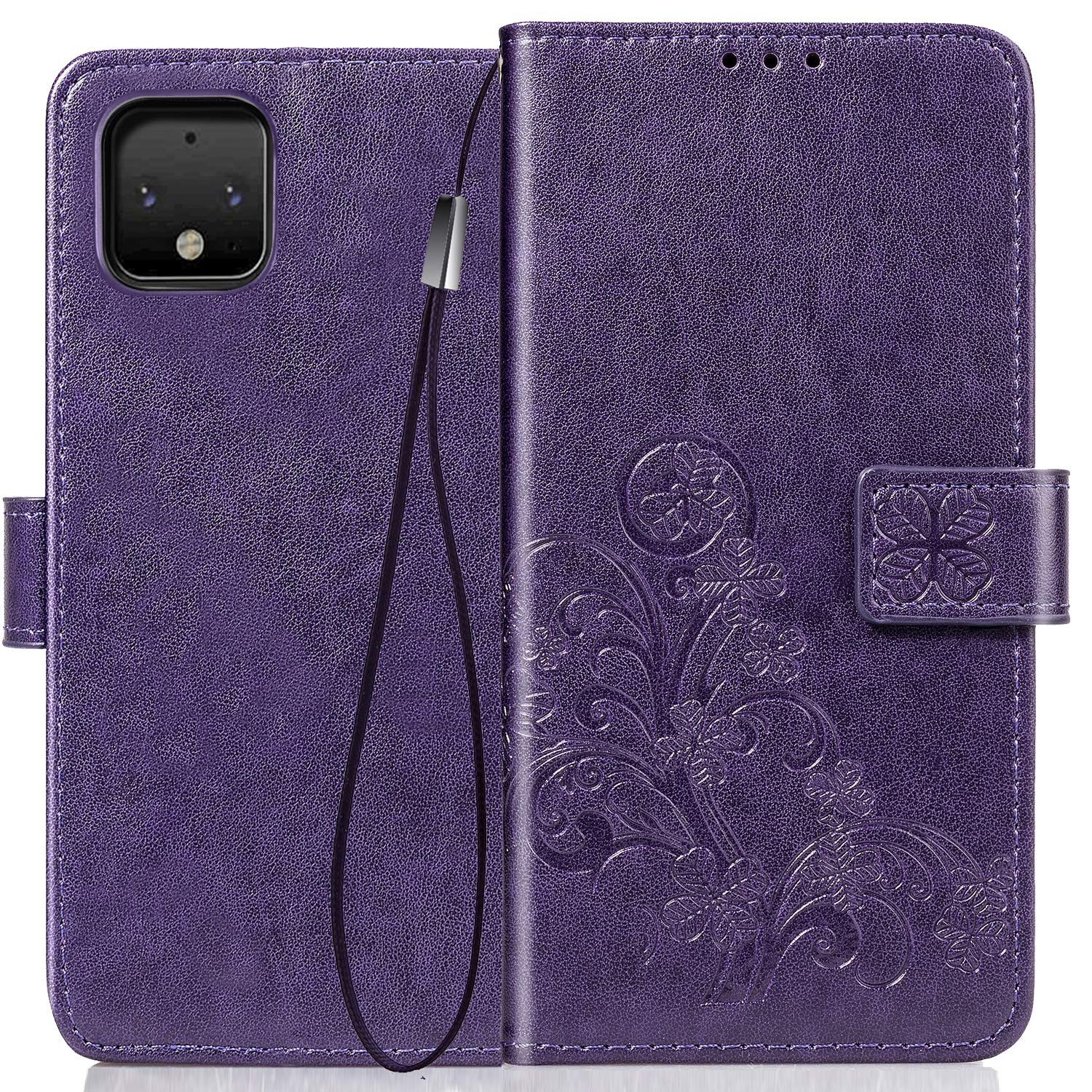Halnziye for Google Pixel 4 Case - Magnetic Closure Soft TPU Flip Leather Wallet Phone Case with Kickstand Card Slots Designed for Google Pixel 4 Case Cover (Purple)