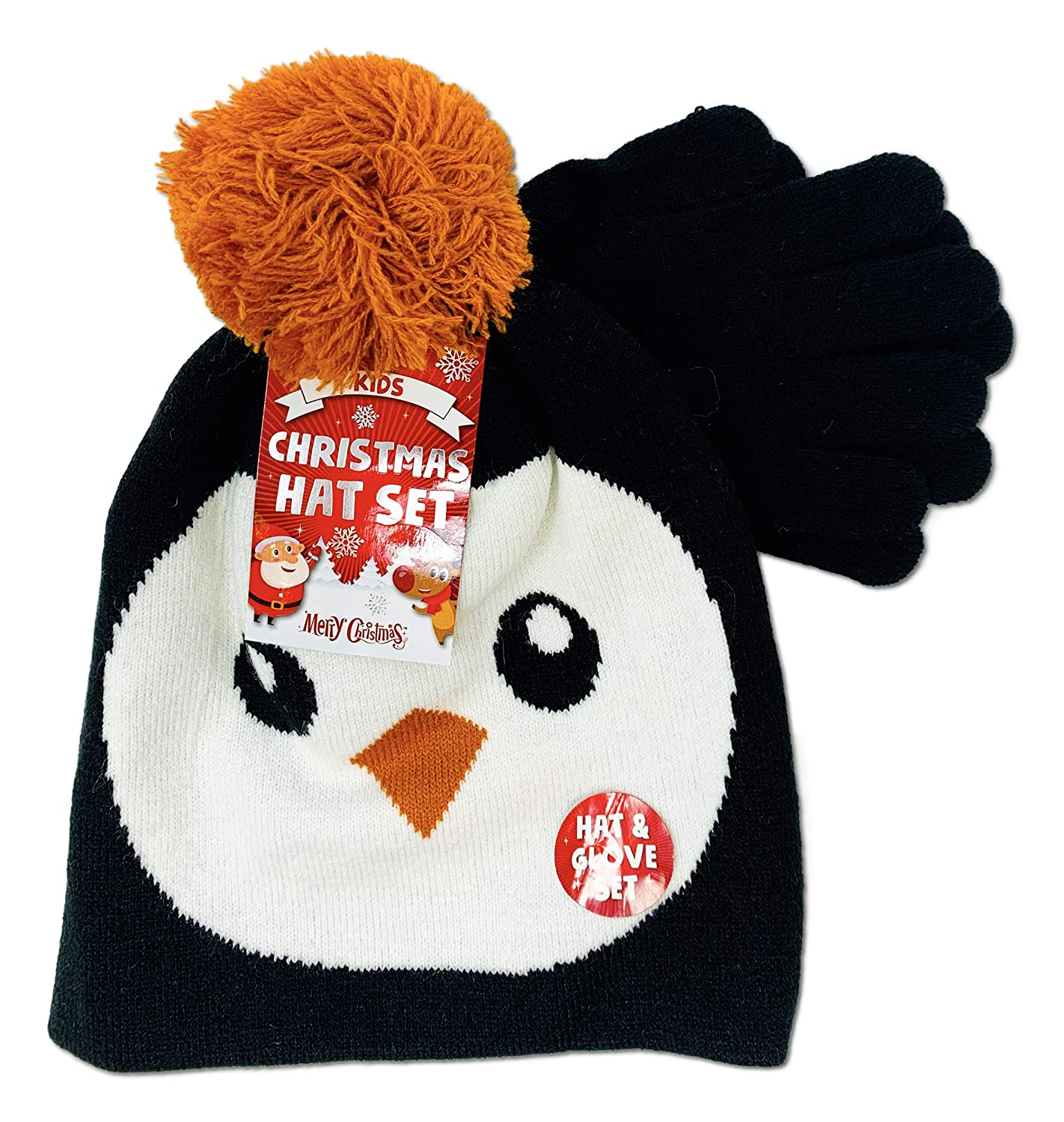 Kids Girls Boys Christmas Themed Super Warm Knitted Novely Hat and Glove Set