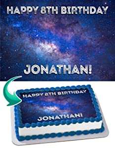 Cakecery Galaxy Space Edible Cake Image Topper Personalized Birthday Cake Banner 1/4 Sheet