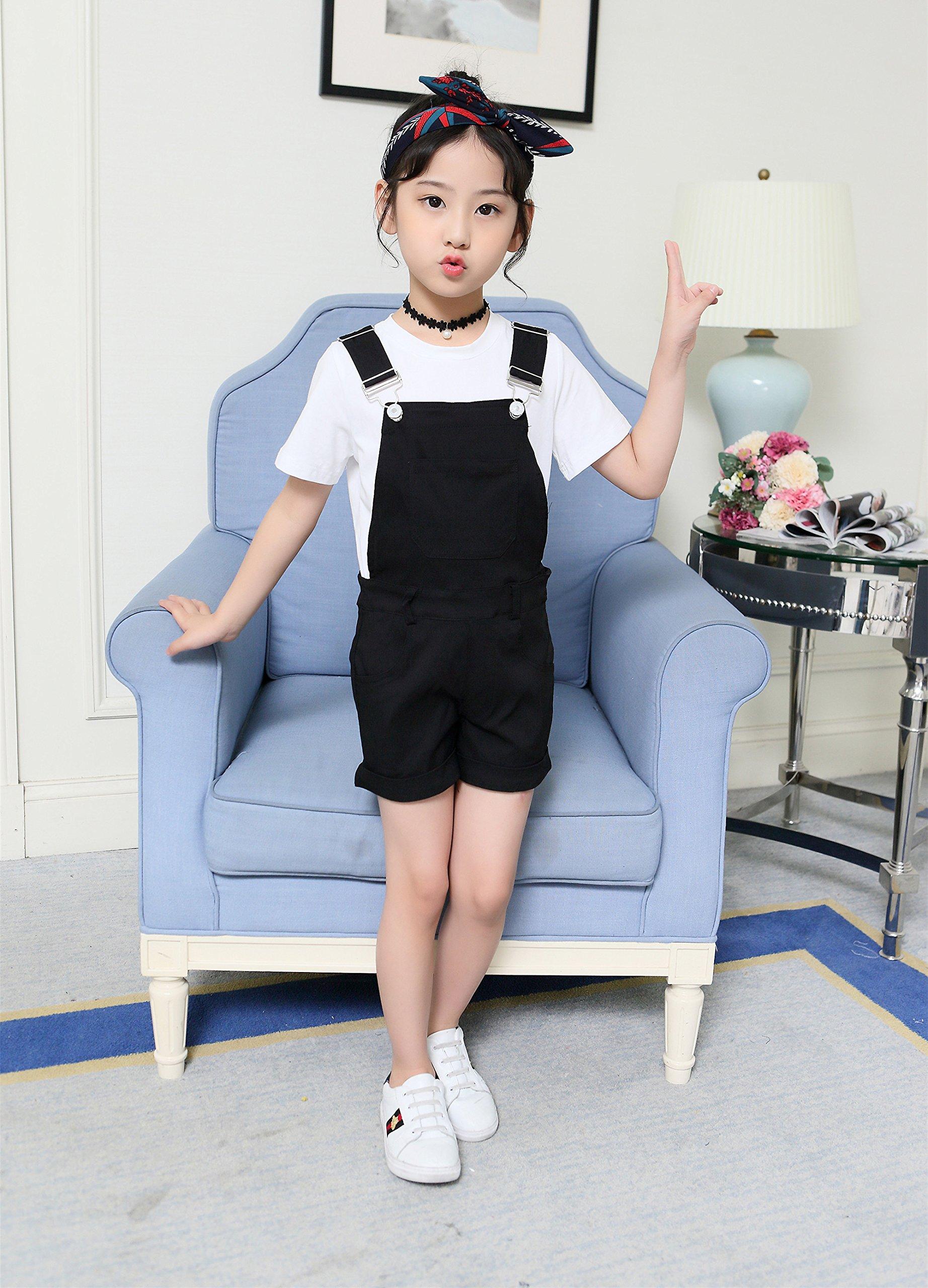 Sitmptol Big Girls Kids Cotton Overalls Jumpsuits Casual Shortalls Bib Romper Black 160 by Sitmptol (Image #2)
