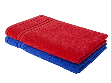 Homely 100% Cotton 2 Piece Hand Towel Set, 60 x 40 cm, 400 GSM, Red and Blue