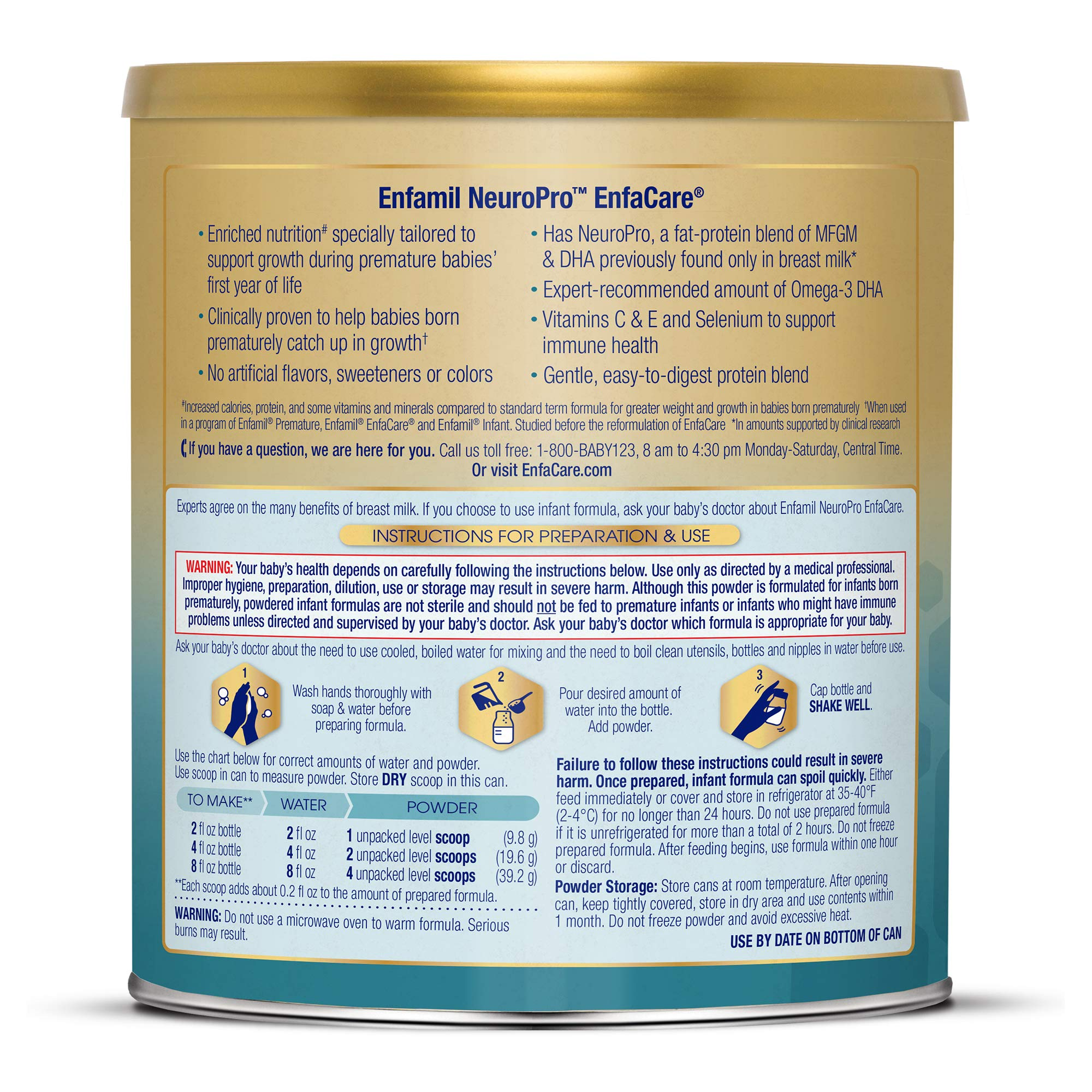 Enfamil NeuroPro EnfaCare Infant Formula - Brain Building Nutrition with Clinically Proven Growth Benefits for Premature Babies - Powder Can, 12.8 oz (Pack of 6) by Enfamil (Image #9)