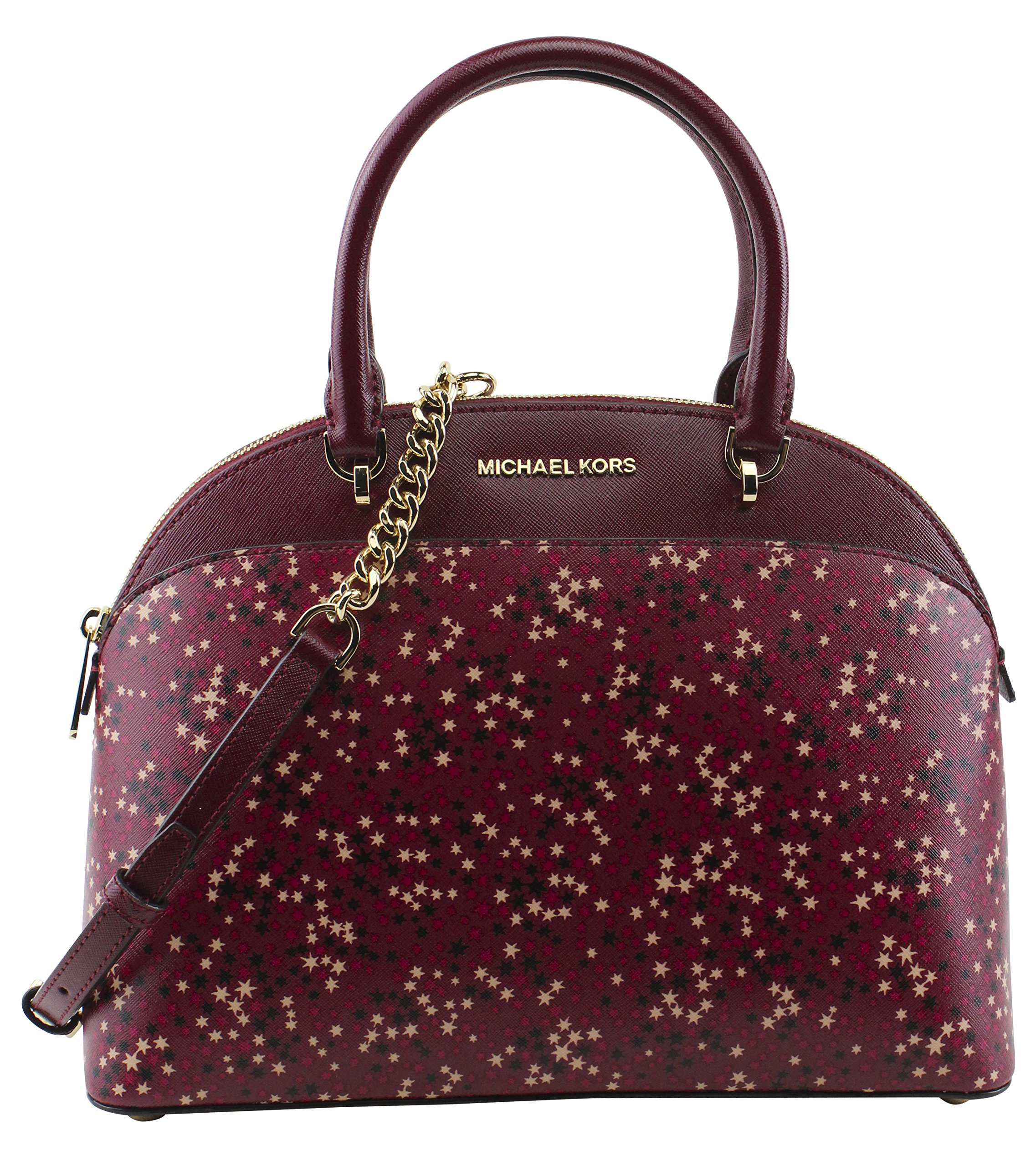 MICHAEL Michael Kors Women's Emmy Large Dome Satchel Handbag, Style 35H7GY3S3R, Mulberry by Michael Kors