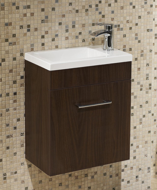 Walnut bathroom furniture - Walnut Square Basin Wall Hung Bathroom Furniture Cloakroom Compact Vanity Unit 400 X 250 Amazon Co Uk Kitchen Home