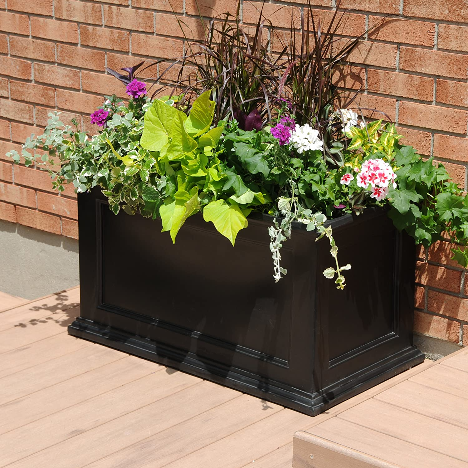 Amazon.com : Mayne Fairfield 5826B Patio Planter, 20 Inch By 36 Inch, Black  : Inside Patio Pots : Garden U0026 Outdoor