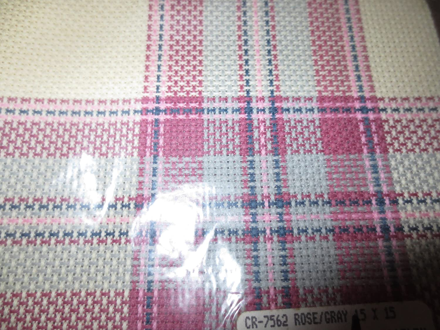 Charles Craft Hopscotch Tartan Plaid -- Aida 14 Count -- 15 x 15 Rose/Gray