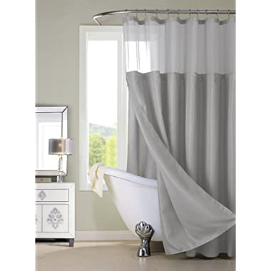 Dainty Home Smart Design Complete 2 in 1 Waffle Weave Hotel Spa Style Fabric Shower Curtain Snap On/Off Waterproof Detachable Liner Set, 72 inch wide x 72 inch long, Simply Grey