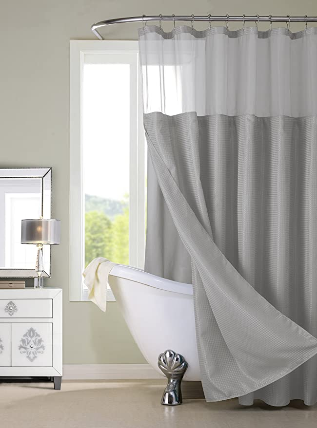 Amazon.com: Dainty Home CSCDLGR Waffle Shower Curtain Complete ...