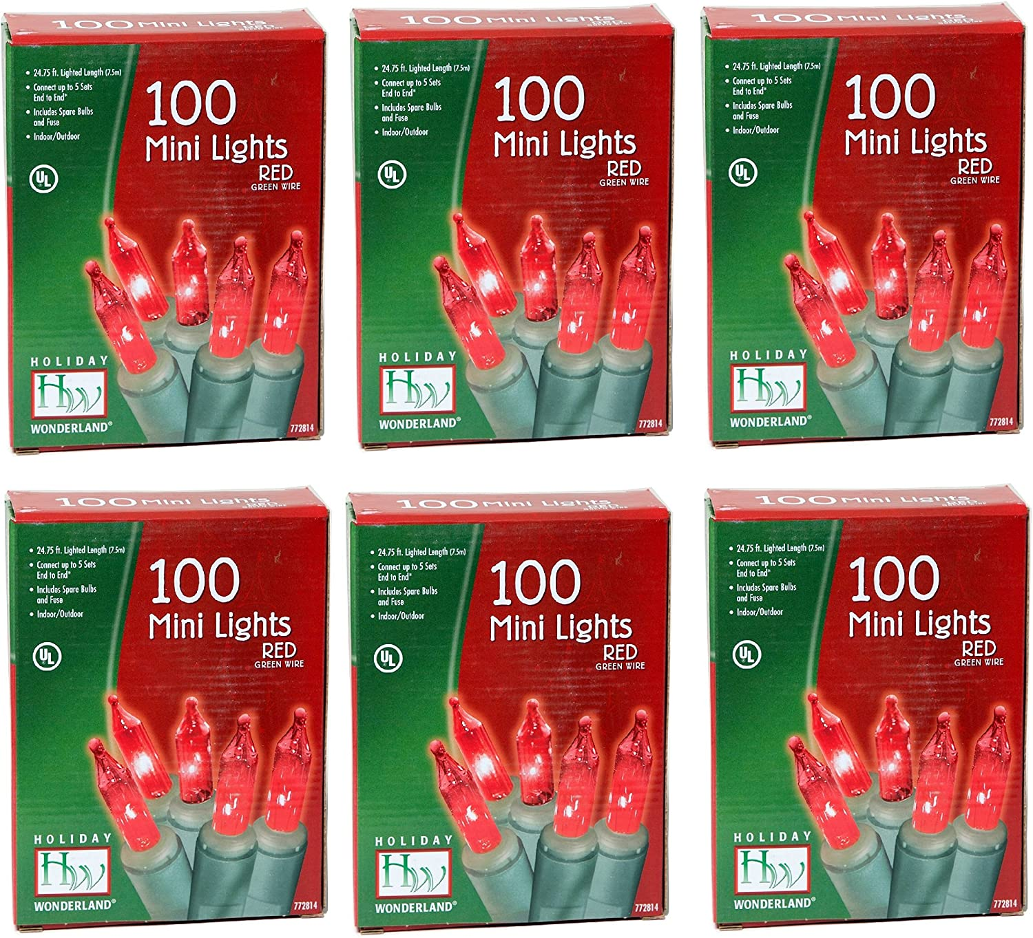Noma/Inliten Holiday Wonderland's 100-Count Red Light Set (Pack of 6)