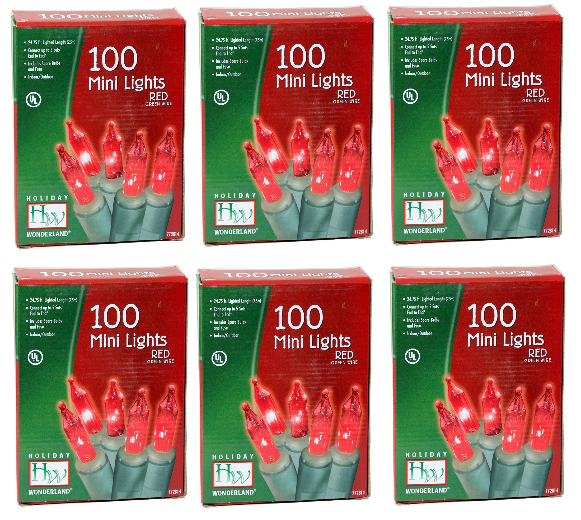 Noma/Inliten Holiday Wonderland's 100-Count Red Light Set (Pack of 6)