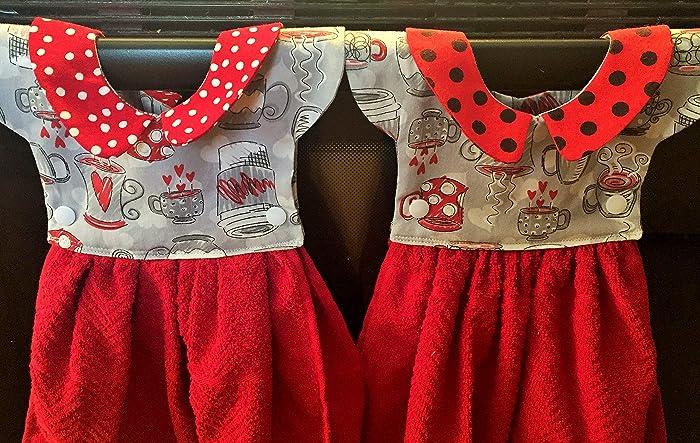Amazon com: Little Dress Hanging Kitchen Towel, Coffee Mugs