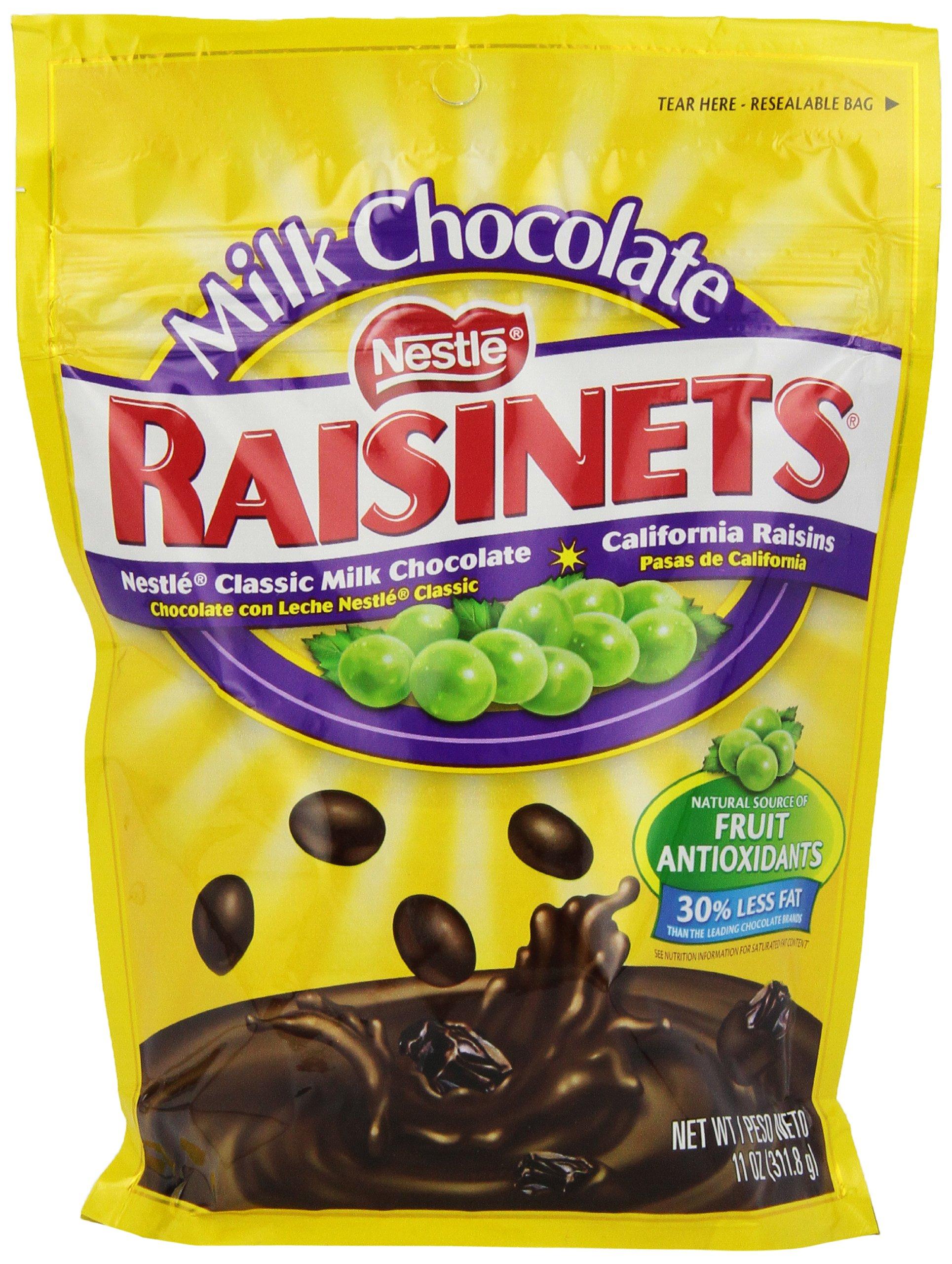 Nestle, Raisinets, Milk Chocolate Covered Raisins, 11oz Bag (Pack of 6)