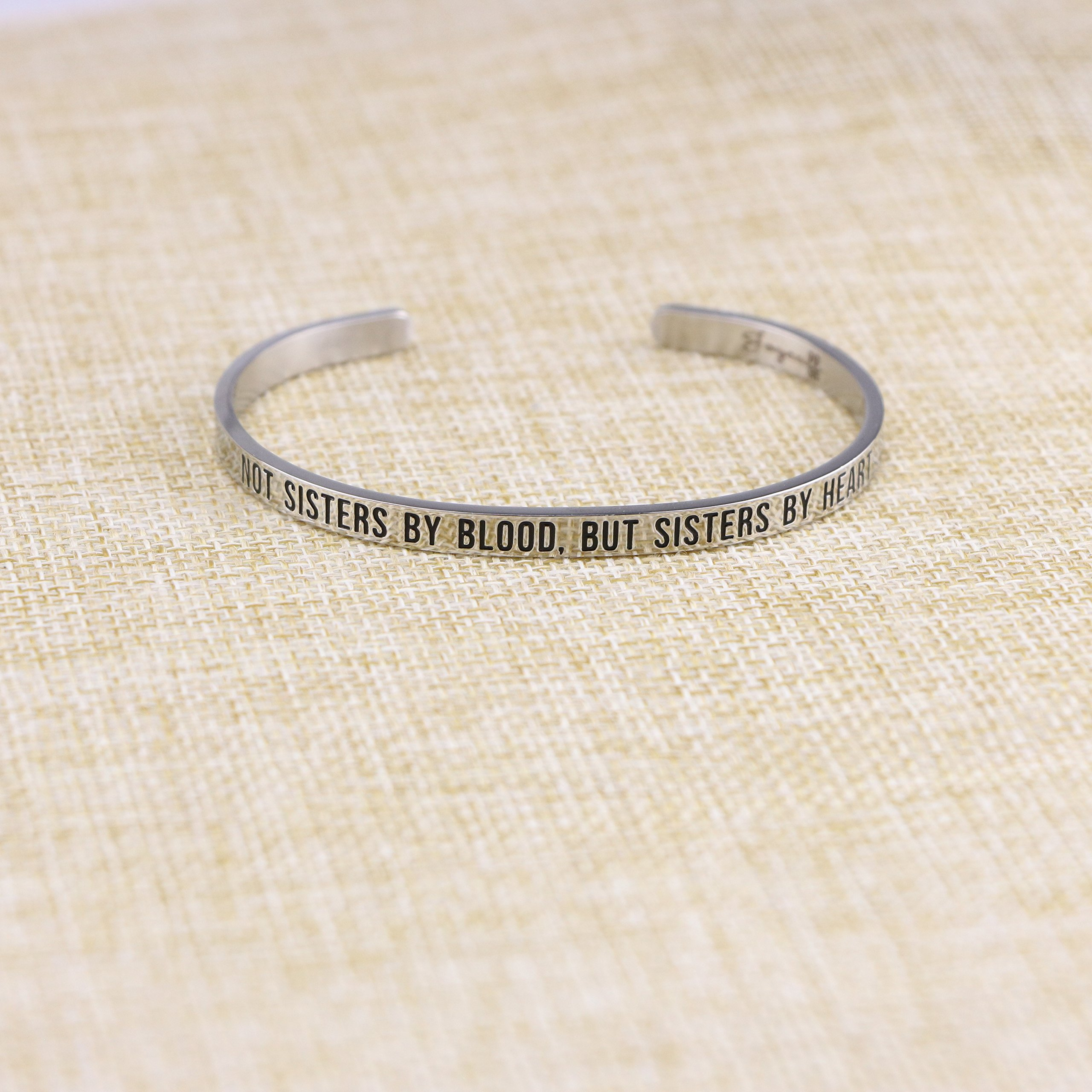 Joycuff Best Friend Bracelet Cuff Engravable Mantra Bangle BFF Jewelry Gifts for Her Not sisters by blood, but sisters by heart by Joycuff (Image #4)