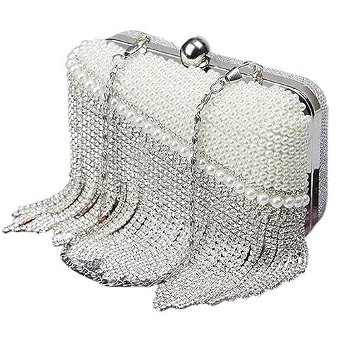 f75da83484 Baigio Pochette Elegante Donna Pochette da Cerimonia Perla e Diamante  Borsetta da Sera Borsetta da Matrimonio
