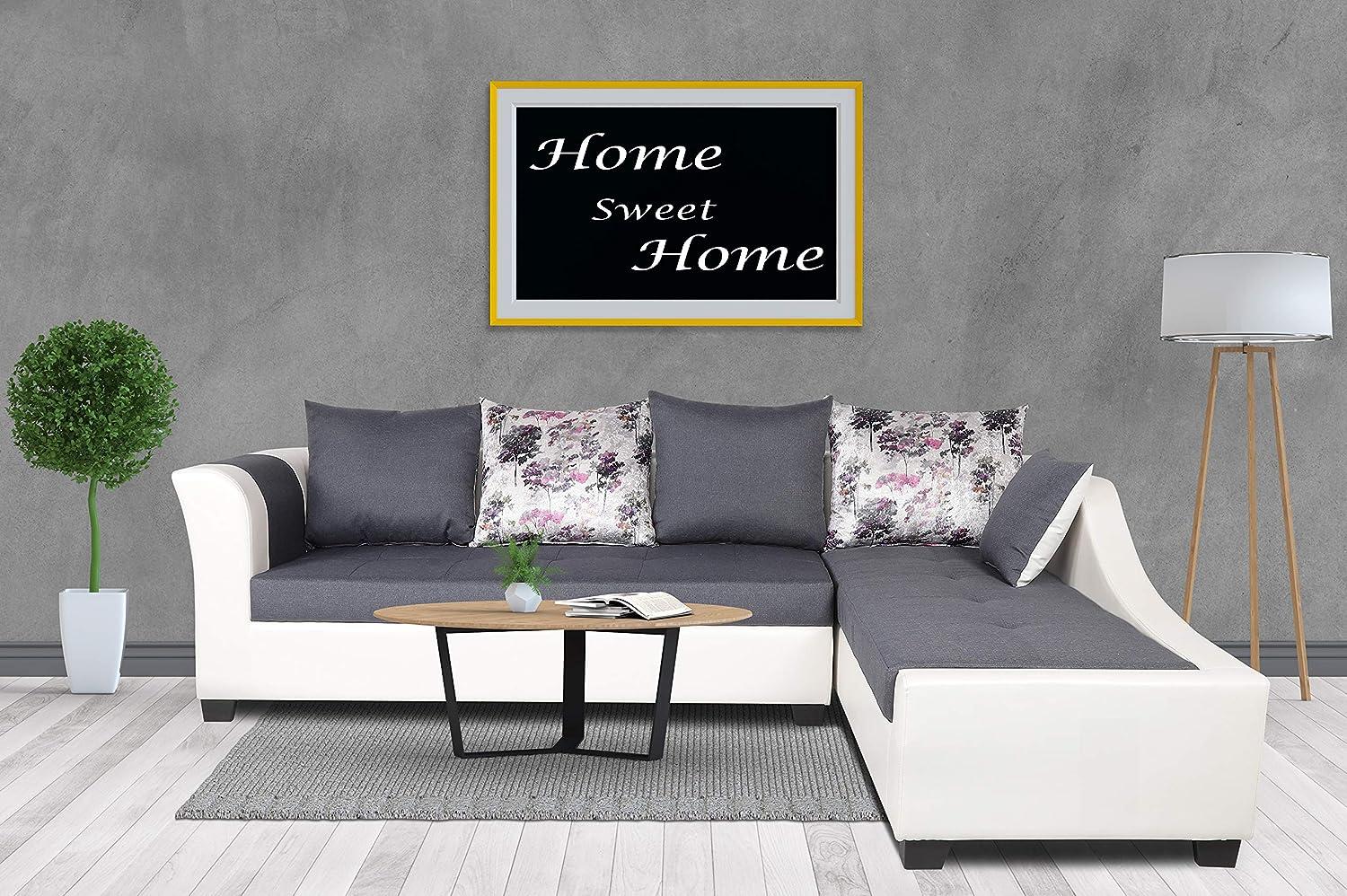 Adorn India Aliana L Shape Leatherette Fabric 5 Seater Sofa