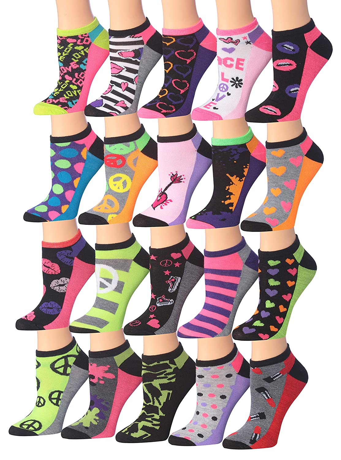 Wl14ab Tipi Toe Women's 20 Pairs colorful Patterned Low Cut No Show Socks