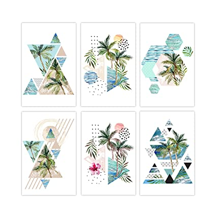 Set Of 6 Unique Posters Beach Theme Decor For Home